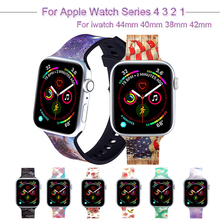 Sport Printed Silicone Strap For Apple Watch 4 3 2 1 Bracelet Band For iwatch 44mm 40mm 38mm 42mm loop Floral Wrist Watchband sport silicone watch band for apple watch 4 3 2 1 loop bracelet strap for iwatch 44mm 40mm 38mm 42mm soft watchband accessories