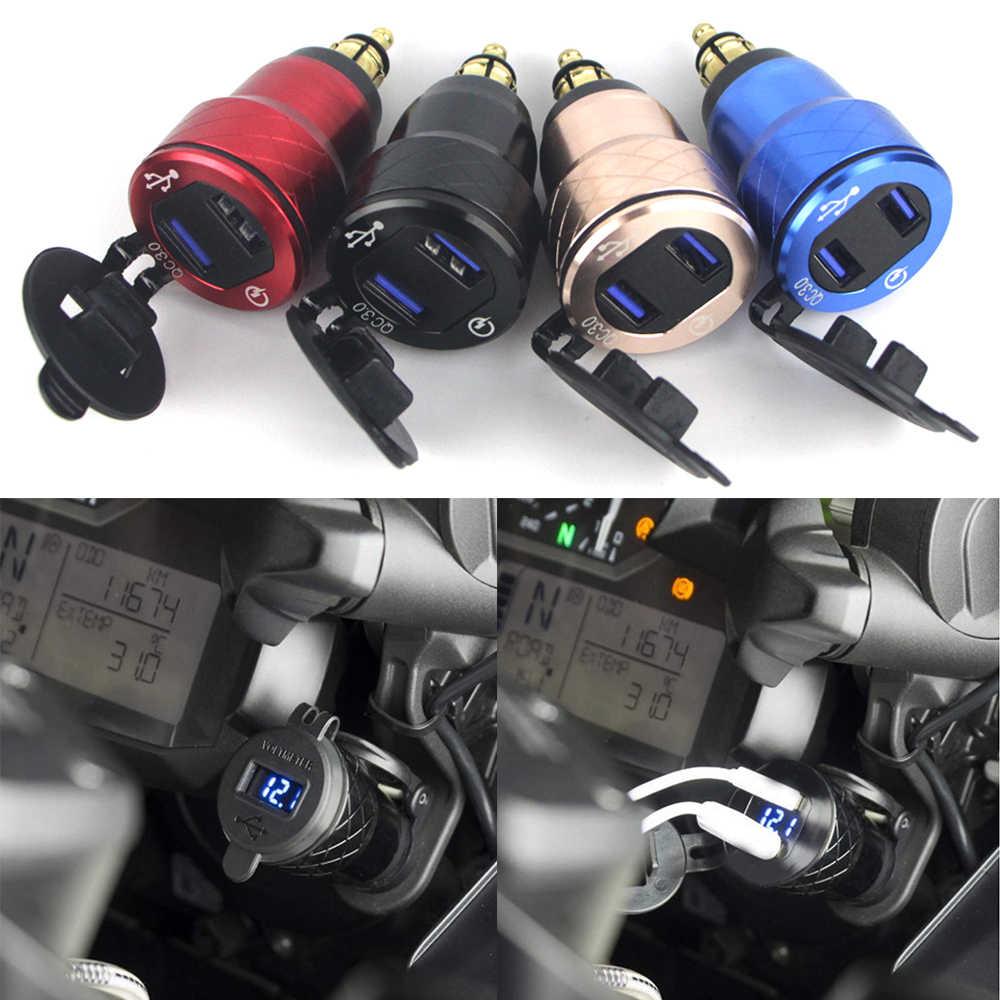 Cepat Biaya 3.0 Ganda USB Sepeda Motor Charger Plug Soket Pemantik Adaptor Tampilan LED untuk BMW F800GS R1250GS R1200GS
