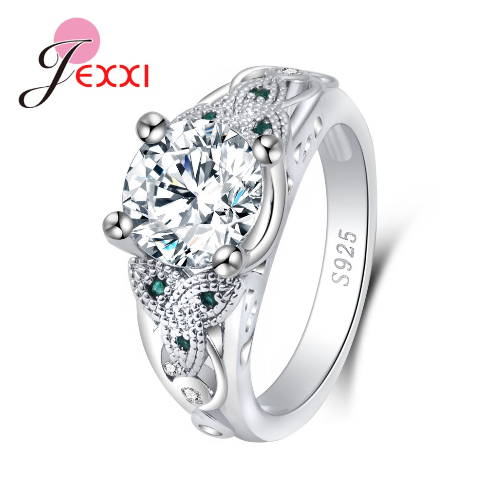 Brand New High Quality Round Cubic Zirconia Popular Design Elegant Anniversary For Women Pure 925 Sterling Silver Rings