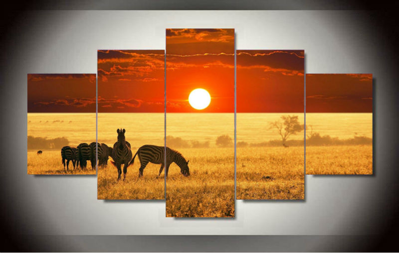 Free Shipping Abstract African landscape zebra Oil Painting Painted Painting Print On Canvas Home Decoration Living Room GA1368