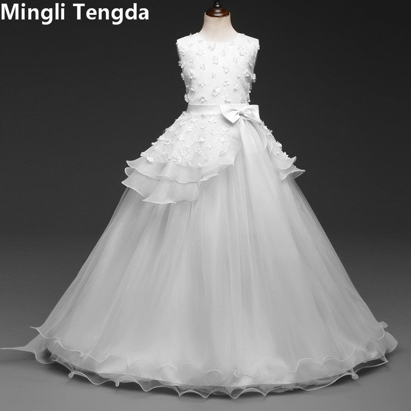 Mingli Tengda White   Flower     Girl     Dresses   for Weddings   Girl     Dress   Kids   Girl   Lace Appliques   Flower     Girl     Dress   Elegant Beading   Dress