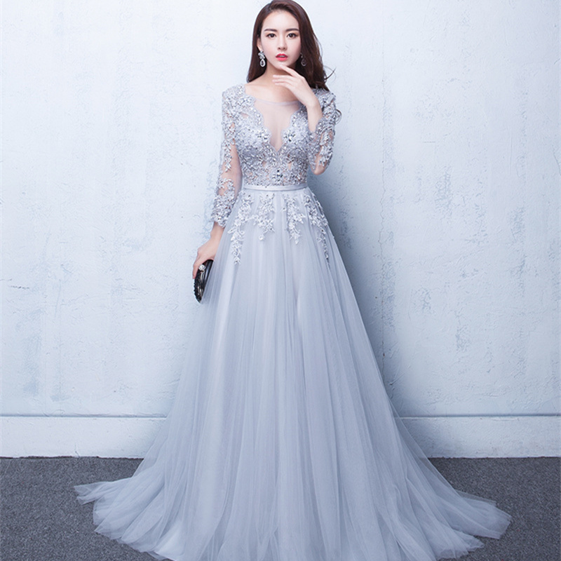 Long Hot New V Neck Evening Dress Party Dress Tulle Appliques Beads Open Back Formal Gowns Trailing Chiffon Sexy Prom Dresses