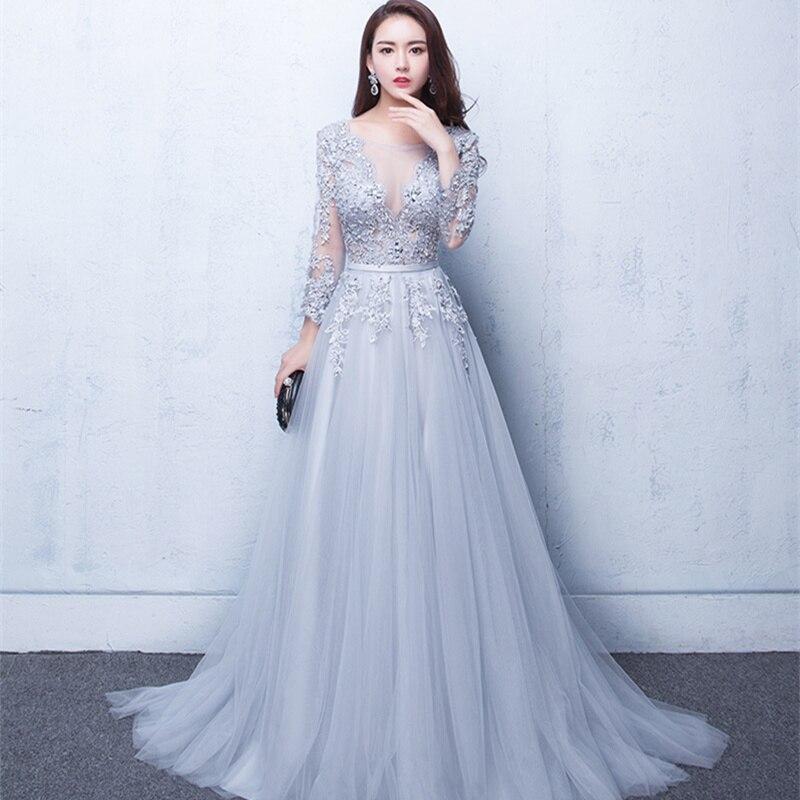 Longue chaude nouveau col en V robe de soirée robe de soirée Tulle Appliques perles dos ouvert robes formelles traînant en mousseline de soie Sexy robes de bal