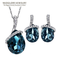 Neoglory Austria Rhinestone Crystal Platinum Plated Jewelry Set With Necklace Earrings For Women 2014 New Engagement
