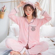 Купить с кэшбэком Maternity Pajamas 2019 Spring Summer New Korean Fashion Cotton Nursing Nightgown Postpartum Breastfeeding Pregnant Pijamas A323