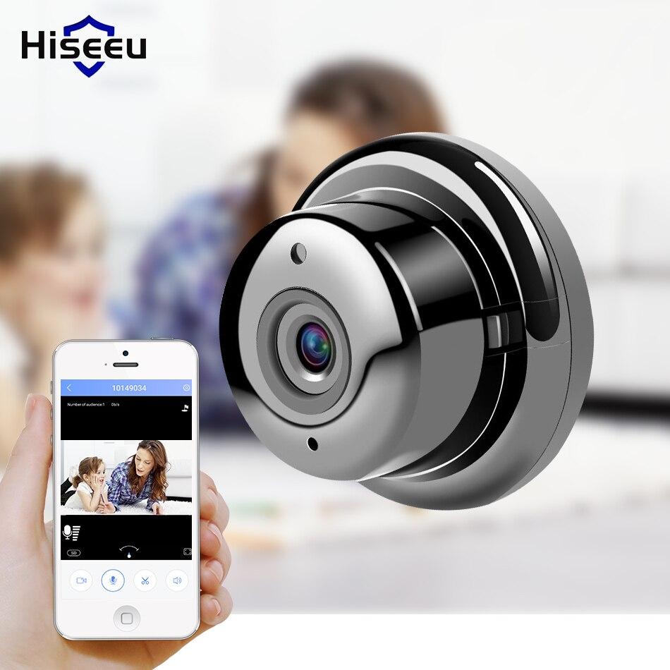 Hiseeu mini fisheye Câmera IP wi-fi 720 P dia e Noite Visão 360 graus panorama casa de segurança câmera de cctv wi-fi bebê monitor de áudio