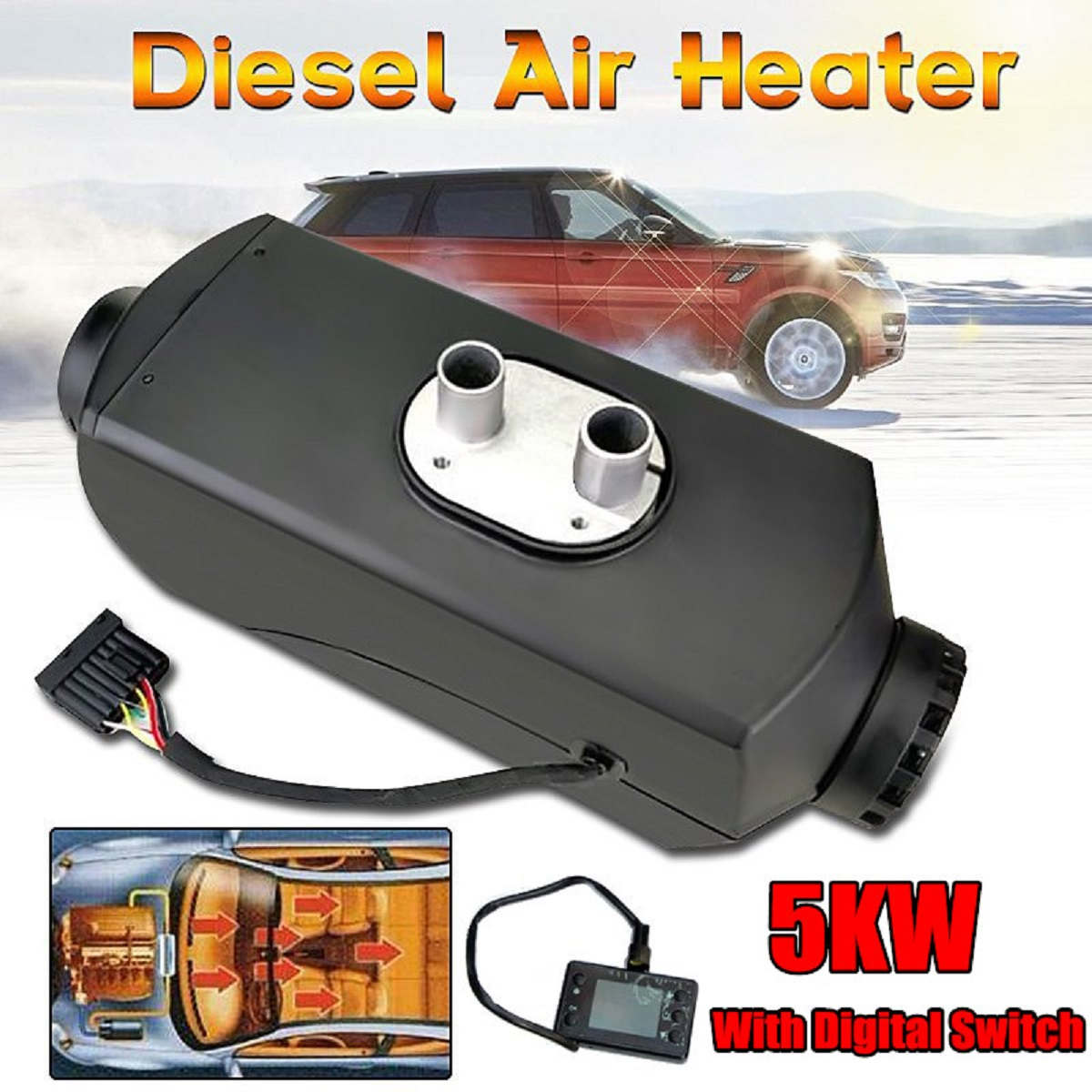 24V 5KW Fuel Diesel Air Heater Planar With Digital Switch For Car Boat Bus