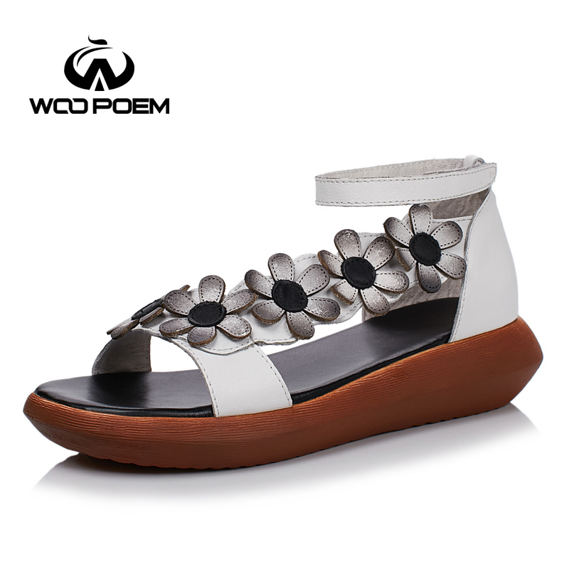 WooPoem Summer Shoes Woman Genuine Leather Sandals Women Med Heel Wedges Retro Flower Sandale Femme Shoes Back Strap WH991 phyanic 2017 gladiator sandals gold silver shoes woman summer platform wedges glitters creepers casual women shoes phy3323