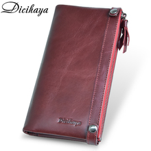 Women Genuine Leather Double Zippers Long Wallets (3 colors)