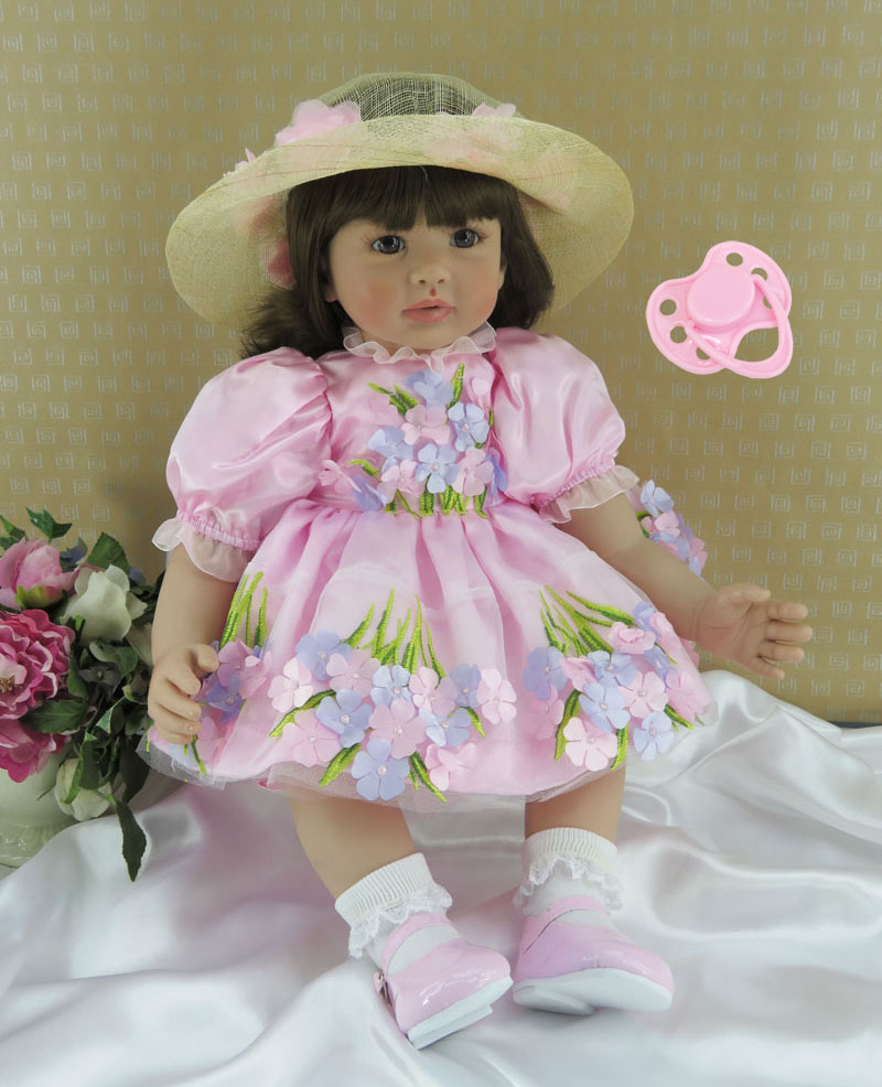 60cm Silicone Reborn Baby Girl Doll Toy For Children Lovely 24inch Vinyl Toddler Princess Babies Doll With Hat Kid Birthday Gift [mmmaww] christmas costume clothes for 18 45cm american girl doll santa sets with hat for alexander doll baby girl gift toy