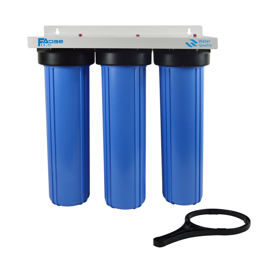 3-Stage Big Blue Whole House Water Filtration System with 20-Inch PP Sediment, Activated Carbon and Carbon Block Filter,1 port kx matrikx 1 01 425 125 20 carbon block filter 20 x 4 25
