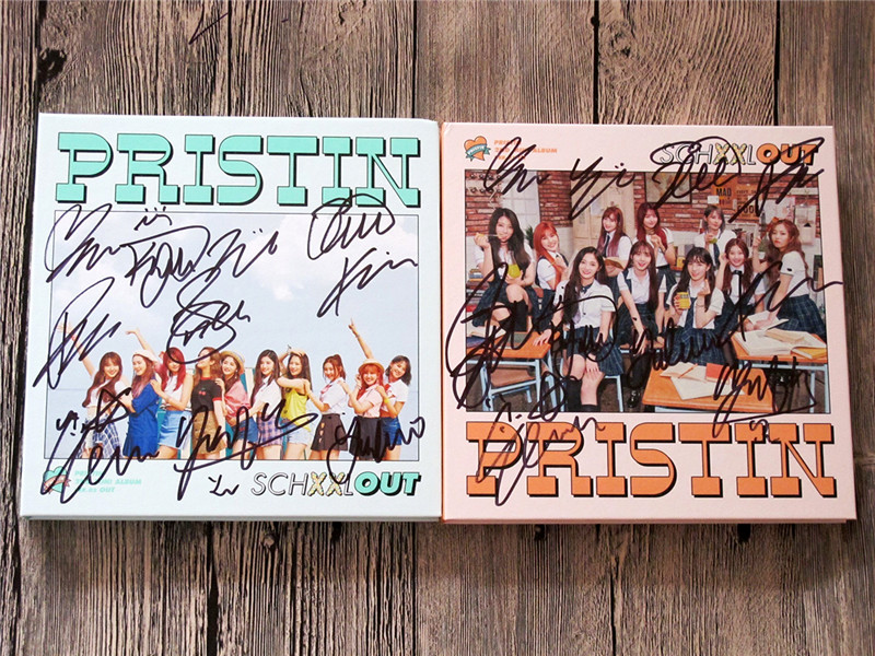 signed PRISTIN autographed mini2nd album SCHXXL OUT CD+photobook+signed poster K-POP 092017 signed cnblue jung yong hwa autographed mini2nd album do disturb cd photobook signed poster 082017