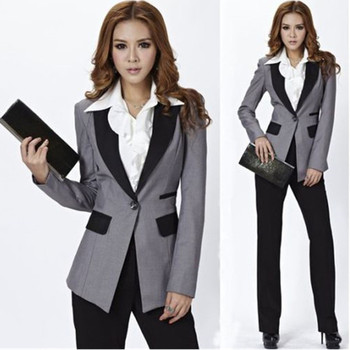 Top Fashion Full Cotton Pantalones Mujer Grey Jacket+black Pants Women Ladies Business Office Tuxedos Work Wear New Suits