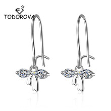 Todorova Korean New Cubic Zircon Crystal Pendant Drop Earrings for Women Fashion Sweet Bowknot Brincos Cute Gift