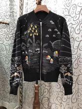 2017 New Woemn Heavy Duty Embroidery Bead Zipper Short Jacket coat outwear