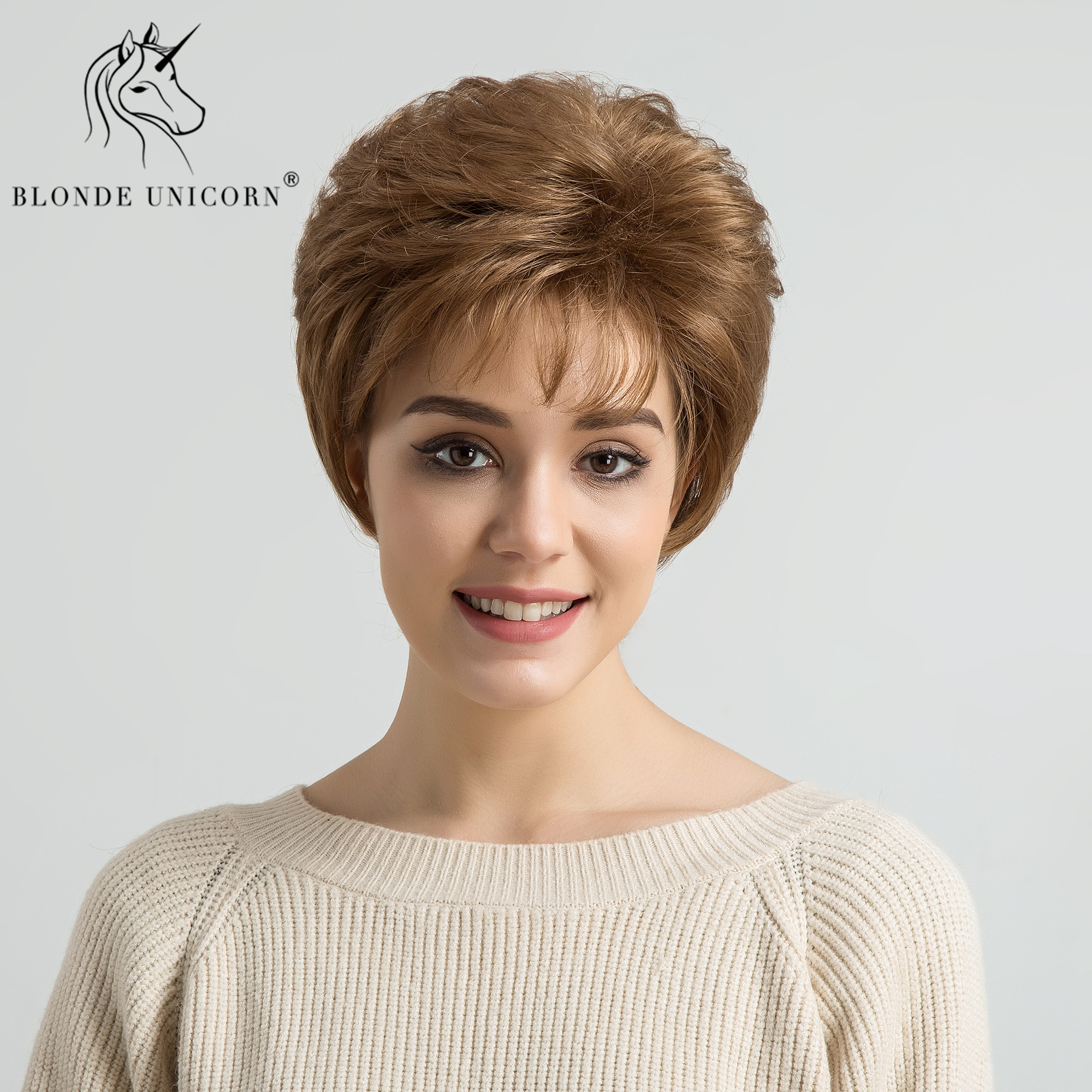 BLONDE UNICORN 8 Inch Synthetic Light Brown Short Straight Women Wig with Side Fringes Brown High Temperature Fiber Mother Wig