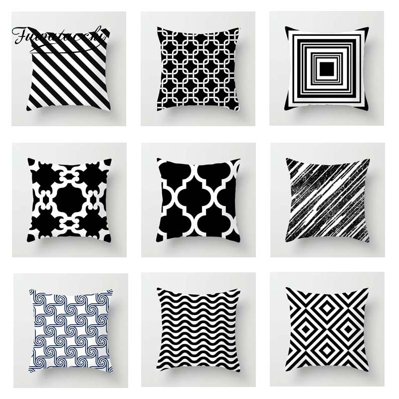 Fuwatacchi Geometric Pattern Cushion Cover Black White Soft Throw Pillow Cover Decorative Sofa Pillow Case Pillowcase Christmas