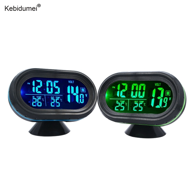 sikeo Automobile LED Lighted Digital Car Clock Thermometer Auto Dual Temperature Gauge Voltmeter Voltage Tester DC 12-24V