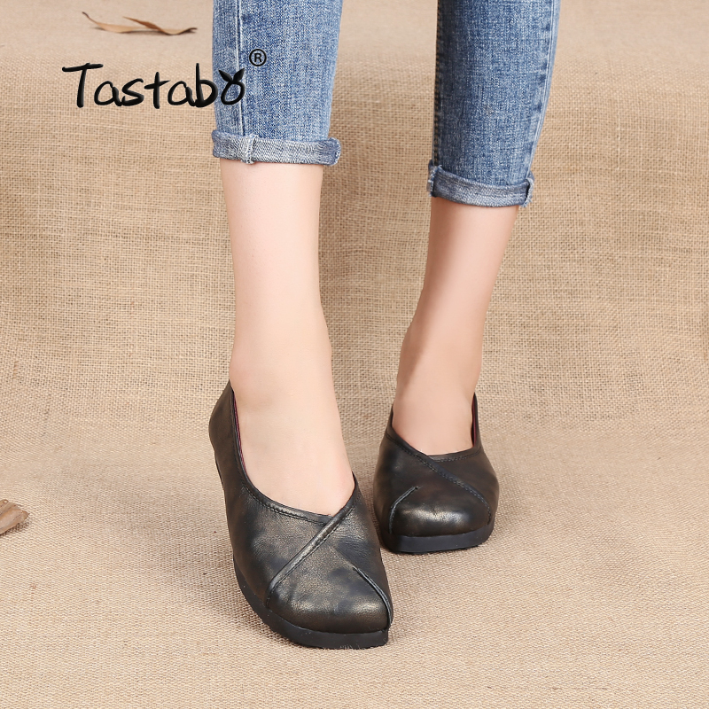 Tastabo Handmade Fashion Flats For Women Black Genuine Leather Shoes Female Moccasins Spring Flats Ballet Mom Ladies Shoes tastabo handmade autumn women genuine leather shoes cowhide loafers real skin shoes folk style ladies flat shoes for mom sapato