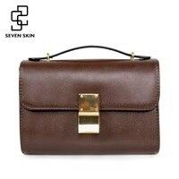 SEVEN SKIN Brand 2017 Solid Leather Women Messenger Bag Female High Quality Shoulder Bags Ladies Crossbody
