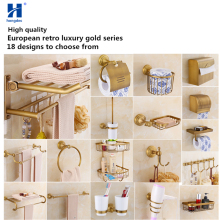 Hongdec Luxury brass Bronze gold Wall Mount Bathroom Accessories Towel rack Holder Storage set