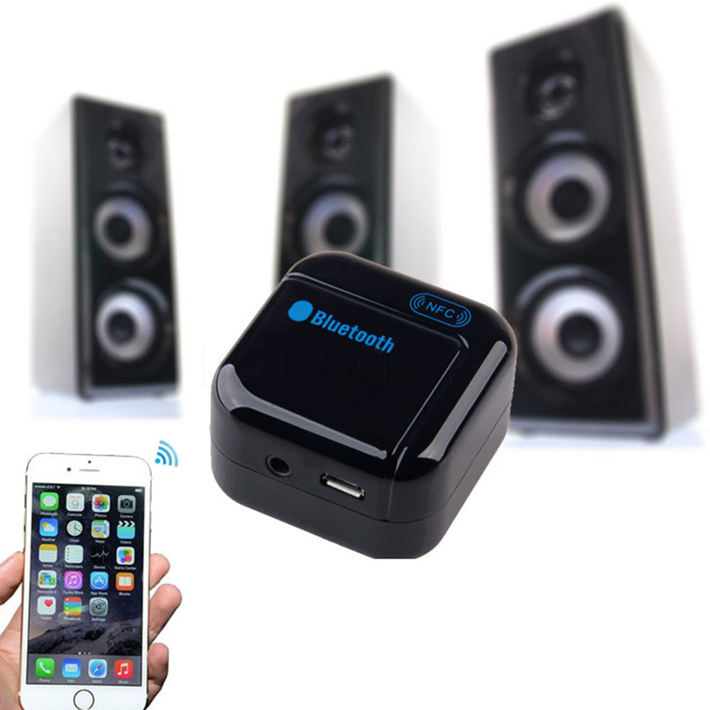 sound system battery. h266 nfc pairing 3.5mm bluetooth wireless music audio receiver adapter with battery for phone sound system