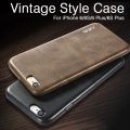 Couro do vintage de volta case para apple iphone 6 6 s 7 7 plus plus 5 5S se tampa do telefone celular de luxo