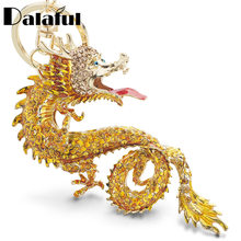 Dalaful Animal Enamel Big Dragon Keychains Keyrings Crystal Animal Dinosaur Bag Pendant Gift Car Key Chain Ring Holder K349(China)