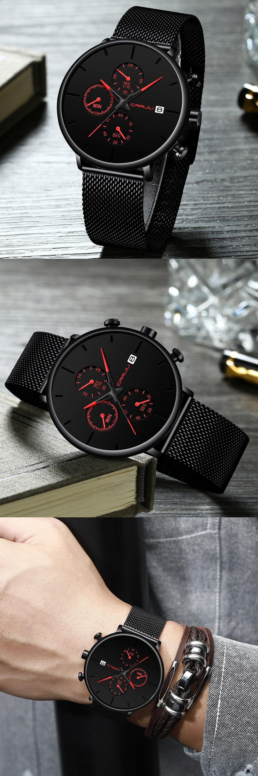 Mens Women StopWatches CRRJU Unique Design Luxury Sport Wrist Watch Stainless Steel Mesh Strap Men's Fashion Casual Date Watches