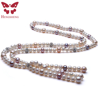 Wholesale Amazing Price 7 12mm Freshwater Irregular Pearl Necklace, Long 74cm Baroque Mix Color Pendant&Necklace For Women