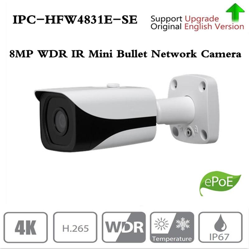 Original DH IPC-HFW4831E-SE Ultra HD 8MP slot para cartão sd embutido IP67 IR40M 4 k IP POE Camera substituir IPC-HFW4830E-S Sem logotipo