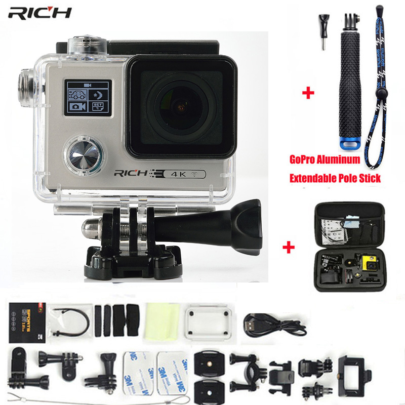 Action Camera F88 Ultra HD 4K Wifi Notavek 96660 Waterproof Double screen Sport Camera+Aluminum Extendable Pole Stick+camera bag