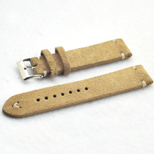 Handmade Retro Watchband Watch Accessories Khaki Suede Genuine Leather Watch Strap 18mm 20mm 22mm 24mm Watch Band KZSD09 uyoung handmade watch strap custom fit the fat sea pa441 watch retro make old ox leather watch belt male