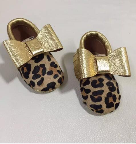 New arrival leopard genuine leather baby moccasins with gold bow Toddler Baby girls boys shoes soft sole first walkers
