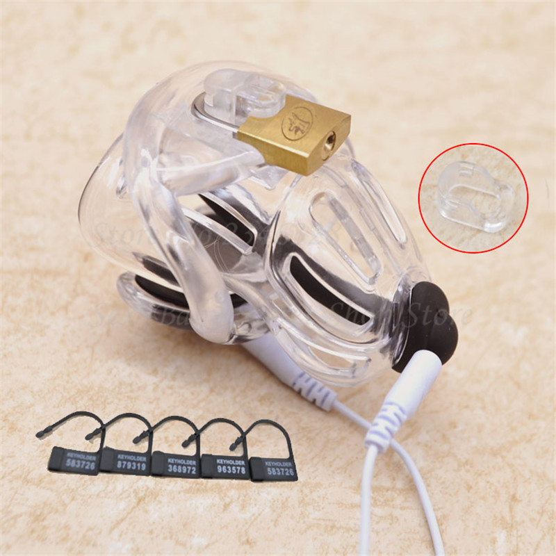 New Design Electric Shock Penis Rings,Male Chastity Device with Padlock,Cock Cage,Electro Shock Penis Plug Adult Sex Toy For Men new plastic male cock lock penis ring electric shock chastity device cage cb6000 bondage restraint sm electro sex toy for men