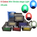 new 5 colors for Choice 24 leds LED Flash lamp Home Party club Wall bar Disco Mini Strobe stage Light DJ Lighting light