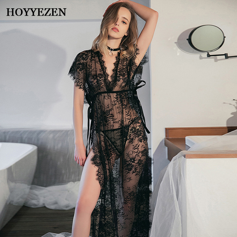 Hoyyezen New Sexy Long Woman High Slit Black Lace Perspective Eyelash Lace Lace Nightdress With T Pants Suit