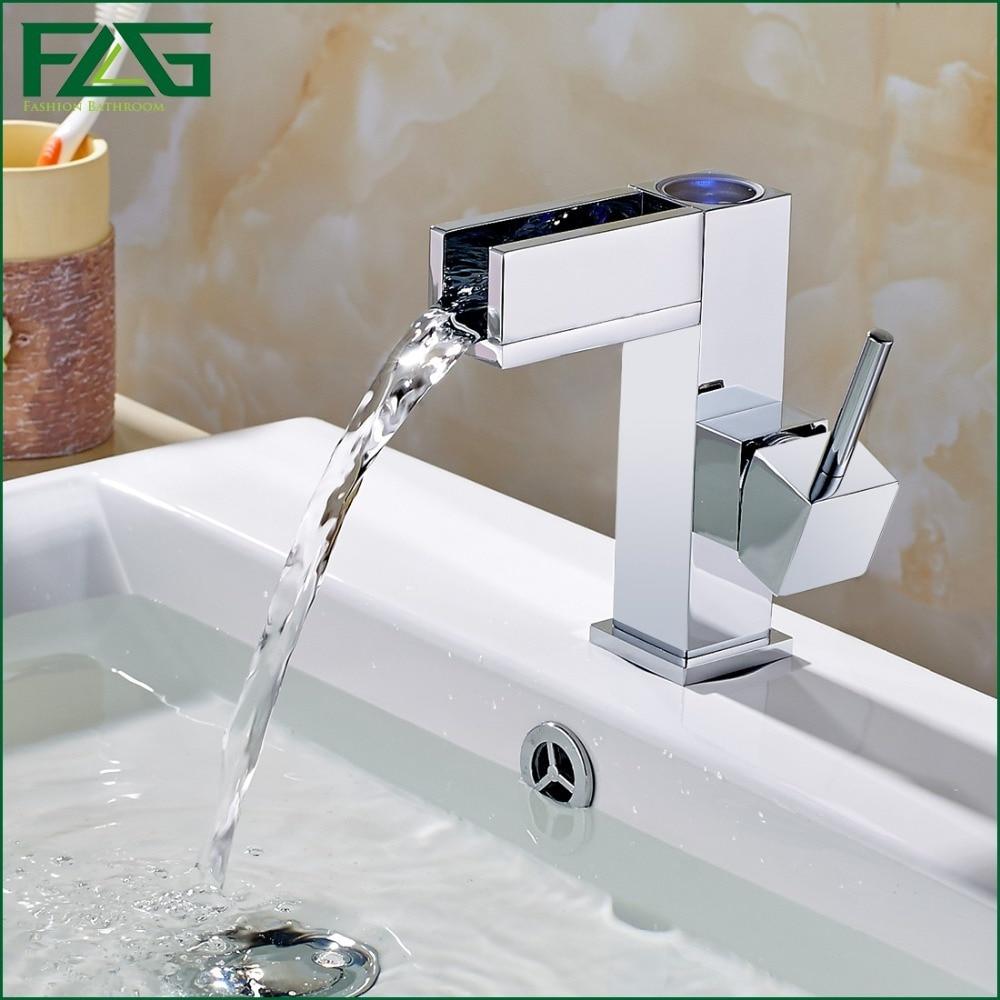 FLG livraison gratuite contrôle de température LED bassin robinet robinet d'eau cascade robinet salle de bains robinets 3 couleurs robinet à LED 127-11C - 2