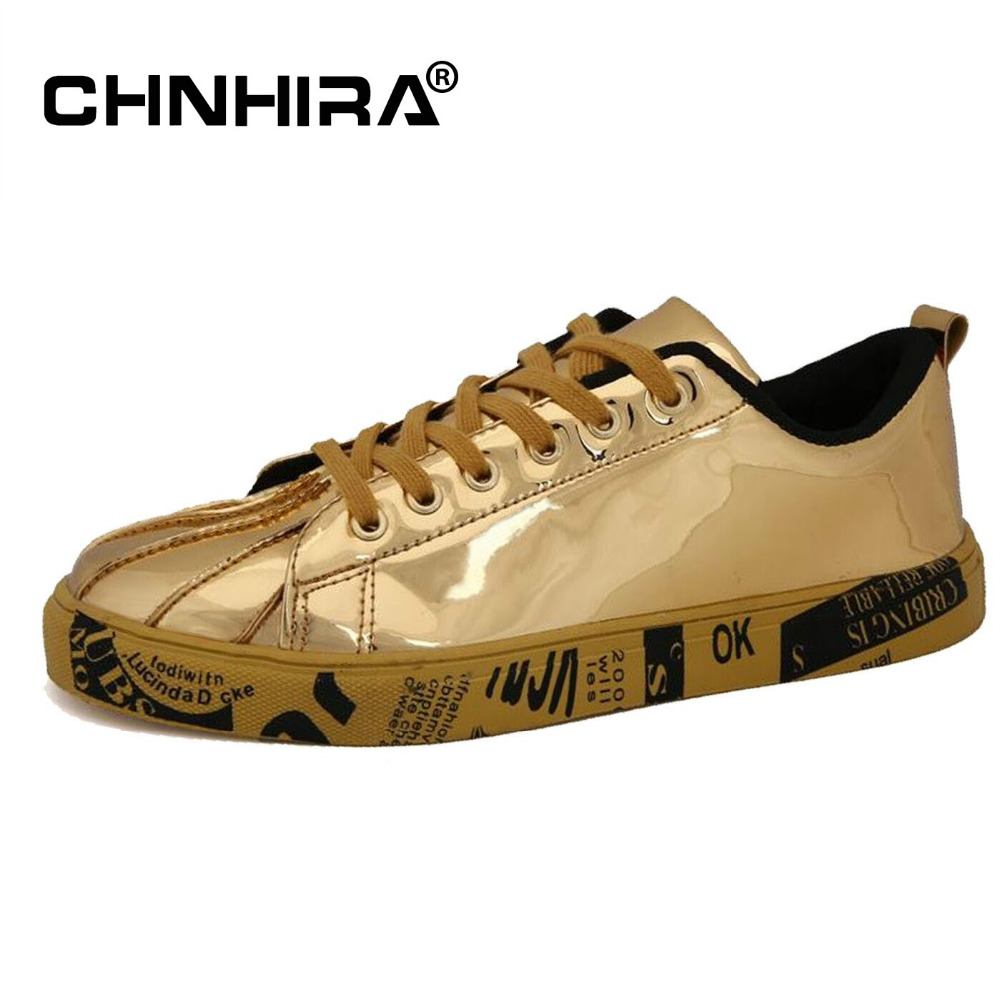 CHNHIRA New Mens Casual Shoes man flats Lace-up Men fashion classic Shiny Big Size Shoe Letter Men's  PU Leather Shoes #CH2009 new 2017 spring autumn flats men canvas shoes fashion mens casual shoes thick sole classic black white lace up brand th027