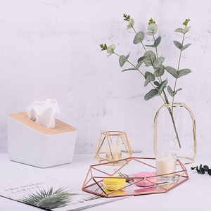 Image 4 - 3D Nordic Style Metal Mirrored Storage Tray Hexagonal Wire Storage Basket Holder Desktop Cosmetic Jewelry Organizer Home Decor