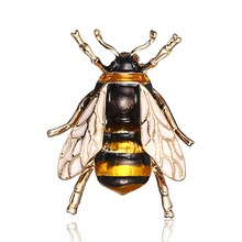 Gold-Layered Enamel Bumble Bee Brooch