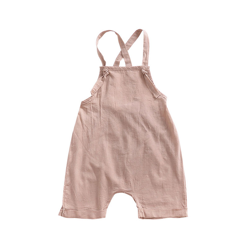 Summer Cute Newborn Baby Girls Solid Color Linen Cotton   Romper   Jumpsuit Outfits Children Boys Clothes 0-24M