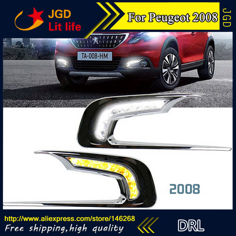 Free shipping ! 12V 6000k LED DRL Daytime running light for Peugeot 2008 2014-2015 fog lamp frame Fog light Car styling стоимость