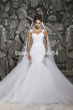 2015 New Custom Made Free Veil Vestido Novia Satin Organza Applique Beading Mermaid Wedding Dress Branco