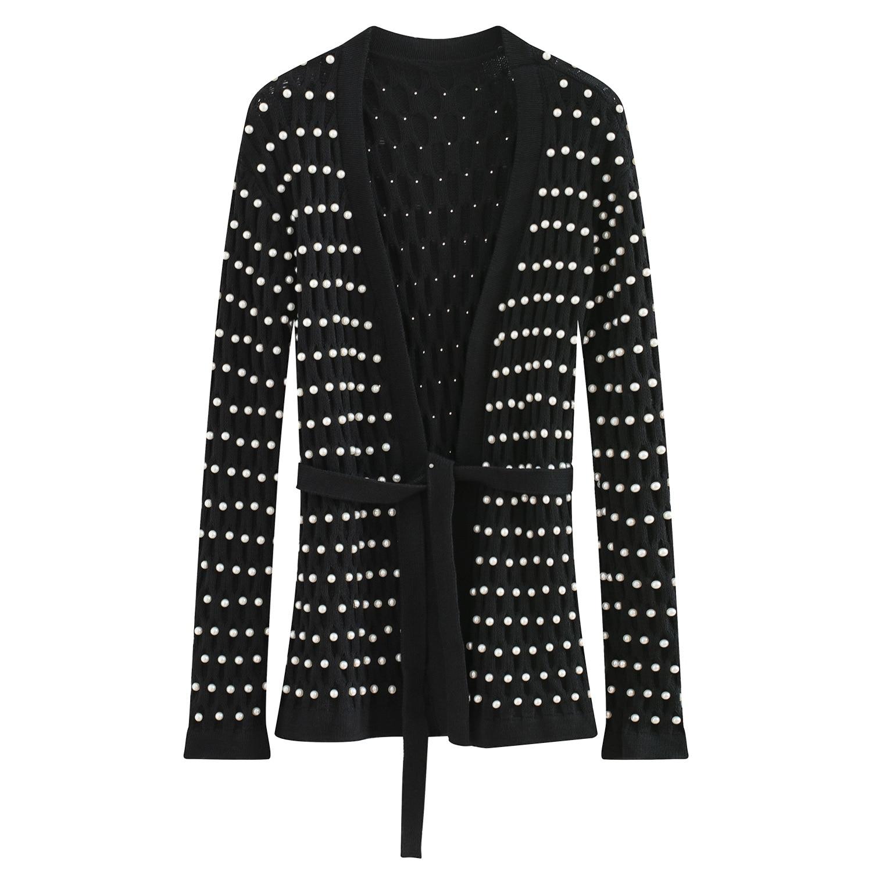 Cardigan Nouveau 2018 Ceinture Haute Manteau Perle Knit D'hiver Femmes Perles Noir Cardigans Chandail Qualité Top Occasionnel xYqwURPP0