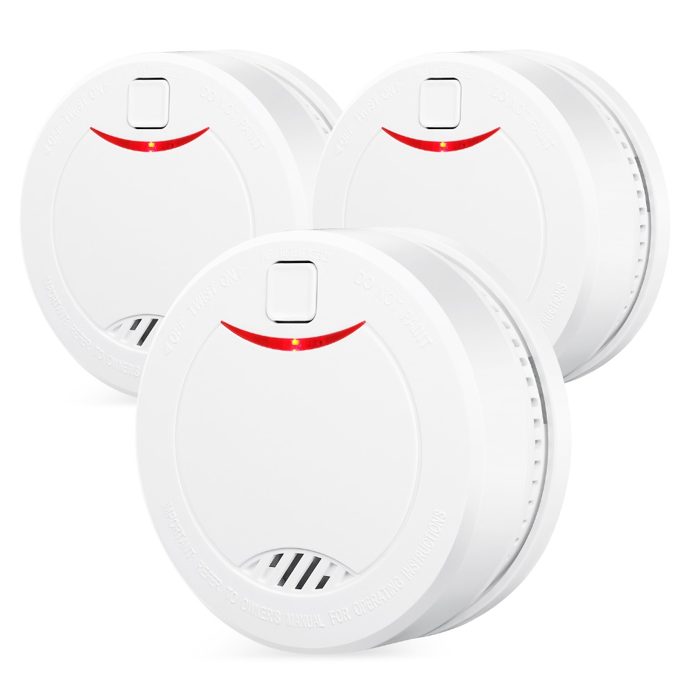 3PCS HEIMAN EN14604 CE Certified Independent Lithium Battery Powered Smoke Detector Photoelectric Sensor Fire Alarm-626PHS