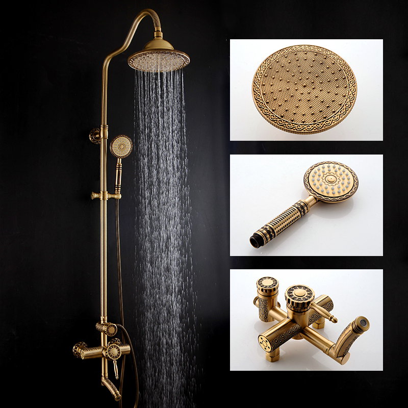 Shower Faucets Antique Bathroom Shower Set Bath Rain Shower Wall Mounted Hand Held Brass Shower Head