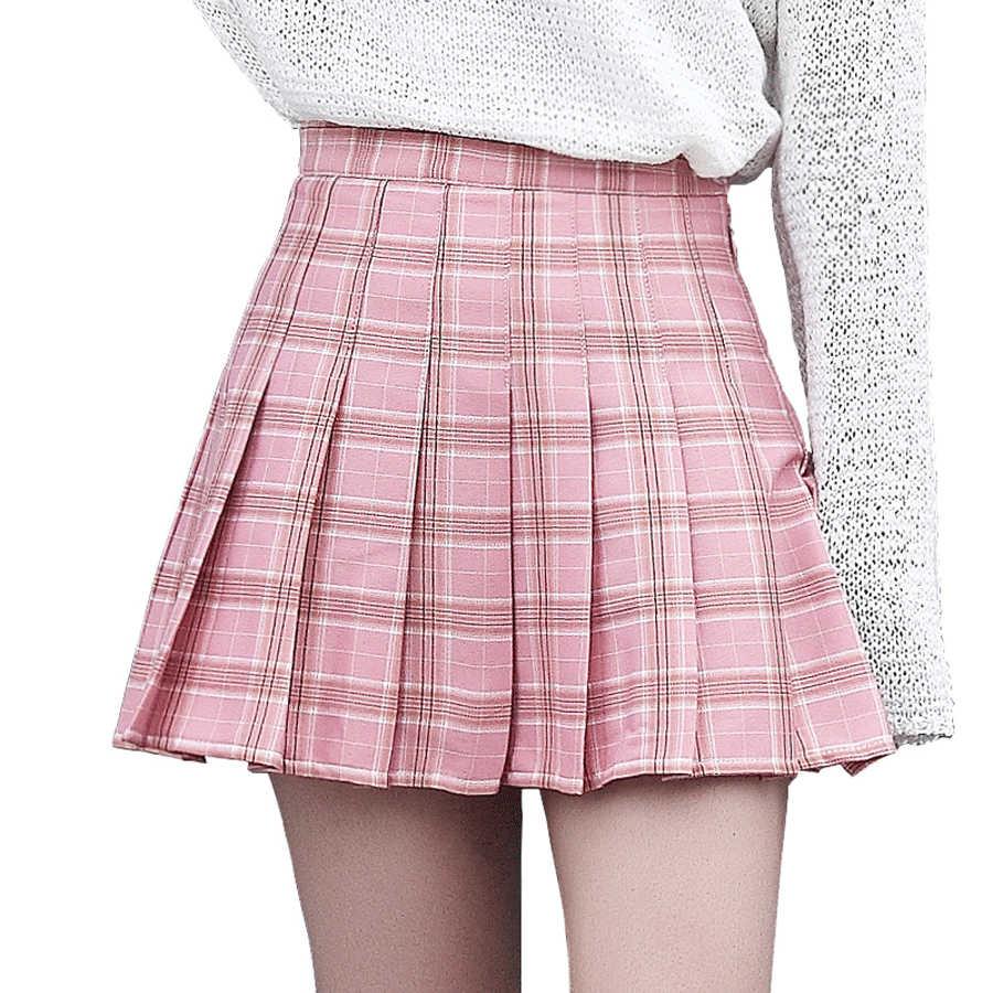 a86785e61ac Harajuku Plaid Pleated Skirt Mini Vintage Preppy High Waist School Skirt  Cute Kilt Korean Style Kawaii