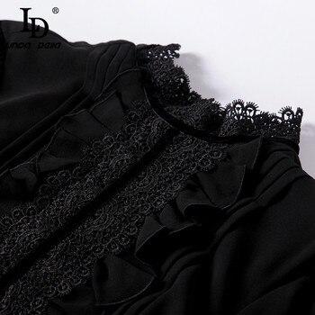 Женское платье с кружевом LD LINDA DELLA, длинное черное платье с длинным рукавом, платье в стиле пэчворк, платье с рюшами, праздничное платье 2019 6