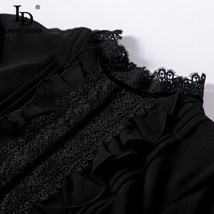 Image 5 - LD LINDA DELLA แฟชั่น Maxi ชุดผู้หญิงแขนยาวลูกไม้ Patchwork Ruffles VINTAGE Black Elegant PARTY DRESS
